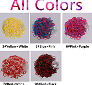 600pcs Rainbow Color Loom New Double Color Fashion Loom Band(1Package S Clip,Assorted Colors)