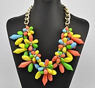 Women's Multi Color Crystal Flower Pattern Necklace