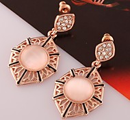 Fashion Geometric-Drop Rose Gold Rose Gold-Plated Drop Earrings(Rose-Golden)(1Pair)