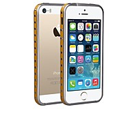 ShenGo™ Rivets Punk Style With Leather Strips Inlaid Golden Metal Bumper for iPhone 5/5S (Assorted Colors)