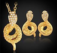 u7® serpiente lujo colgante platino 18K chapado en oro aretes de diamantes de imitación austriaco