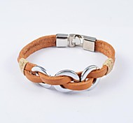 Fashion Women's Stainless Steel Ring Leather Bracelets