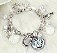 Fashionable Women's Dolphin Drip-Shaped Pearl Crystal Glass Bracelet Watch(1Pc) Cool Watches Unique Watches