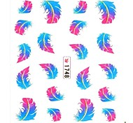 Water Transfer Print Nail Art Stickers Decals Blue Feather Pattern For  False Acrylic Nail Tips Design Nail Art