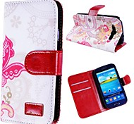 Pink Butterfly Pattern Leather Case for SAM S3 I9300