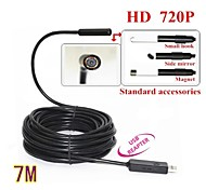720P Mini USB IP67 Waterproof 7mm Lens Endoscope Borescope Snake Inspection Camera with LED Light 7M