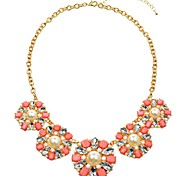 Resin Pearl Flowers Chokers Necklace