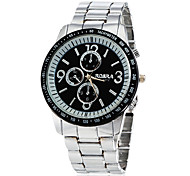 Men's Black Dial Silver Alloy Band Quartz Wrist Watch
