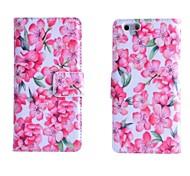 motif fleur de pêcher pu cuir flip pochettes pour iPhone 6