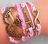 Western Vintage 20cm Women's Pink Coppery Eiffel Tower Bracelet Alloy Wrap Bracelet(1Pc)