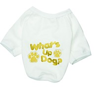 Cat / Dog Shirt / T-Shirt White Dog Clothes Spring/Fall Letter & Number