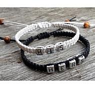 clássicas simples pulseiras de prata pelo seu (2 peças)