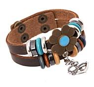 Z&X®  Punk Fashion Handmade Beads Combination Alloy Anchor Pendant Leather Strand Bracelets