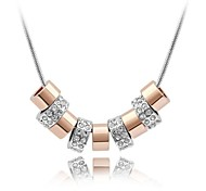 Special Design String of Memory Short Necklace Plated With 18K True Platinum Clear Crystallized Austrian Crystal Stones