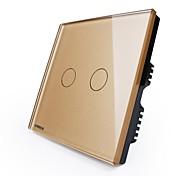 Livolo interruttore di tocco standard uk, pannello di vetro dorato di lusso, 2 gang1way, 110-250VAC