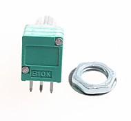 10K 6-pin Double Potentiometer / Volume Potentiometer - Silver + Green