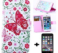 Wallet Style Pink Butterfly PU Leather Full Body Cover with Screen Protector for iPhone 6