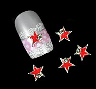 10pcs Red Star With Silver Line Alloy Nail Art Decoration