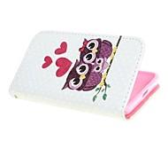 cuero del diseño cubierta de la caja de la familia del búho con el soporte y la tarjeta de ranura para Nokia Lumia 630 635