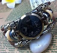 Women's High Quality Black Dial Leather Quartz Movement Bracelet Watches