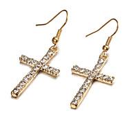 Fashion Cross Golden Alloy Drop Earrings(1 Pair)