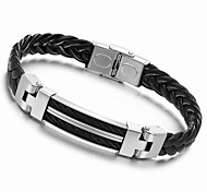 Handmade 23cm Men Black Leather Stainless Steel Bracelet