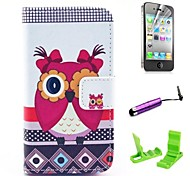 Beautiful Female Owl Pattern PU Leather hoesje with Screen Protector and Stylus for iPhone 4/4S