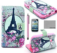 COCO FUN® Rose Flower Eiffel Pattern PU Leather Case with Film and Stylus for Samsung Galaxy Core GT-I8260 I8262