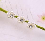 8cm palos de moda de las mujeres blancas de aleación y la perla del pelo (blanco) (5pcs)