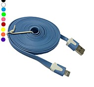 3m 10ft fideos plana micro usb cable de sincronización de datos para nokia samsung sony htc lg (color surtidos)