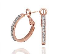 cercle de diamant de mode en or rose Boucles d'oreilles créoles plaqué or (or rose) (1 paire)