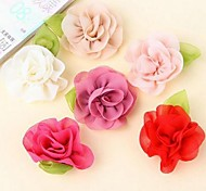 DIY Handmade Chiffon Satin Fabric Cloth Flowers Ornaments with Leaves (5Pcs Random Delivery)