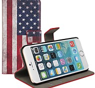 American Flag Pattern Genuine Leather Case with Stand and Card Slot for iPhone 6