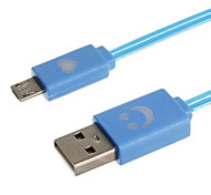 1M 3.28FT Micro USB 2.0 to USB 2.0 Extended Cable With LED Light Free Shipping