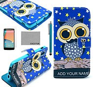 COCO FUN® Night Star Owl Pattern PU Leather Full Body Case with Screen Protector, Stylus and Stand for LG Google Nexus 5