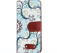 Blue Decorative Design Pattern Oxhide Character Retro PU Leather Case for iPhone4/4S
