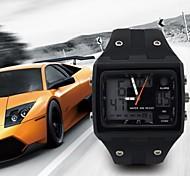 de la correa de la PU rectangular marcar hombres Pantalla LED reloj de pulsera de cuarzo calendario choque cronómetro japonés (colores surtidos)