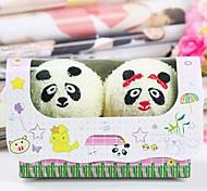toalla de fibra de forma de regalo de cumpleaños de la panda creativa (color al azar) (2 PC / sistema)