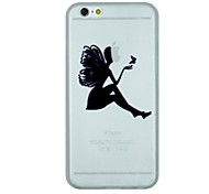The Girl And Butterfly Pattern PC Hard Transparent Back Cover Case for iPhone 6 Plus