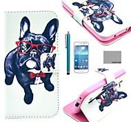estojo de couro de coco padrão cão óculos fun® pu com protetor de tela e caneta para Samsung Galaxy S4 mini-i9190