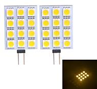 G4 W 12 SMD 5050 120~130 LM Warm wit/Koel wit 2-pins lampen DC 12 V
