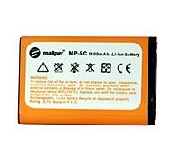 1100mAh mallper ad alta capacità della batteria agli ioni di litio per nokia bl-5c / 1208/1112/1209/1600/1650/2300 / E60 / N72 / N70 / N91 / C2-01