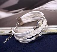 Z&X®  Elegant Fashion Pearl And Alloy Handmade Leather Rope Charm Bracelets