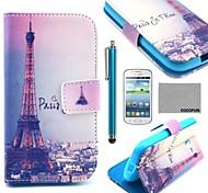 Coco Fun® torre Eiffel en la noche patrón pu estuche de cuero con el cine y lápiz para Samsung Galaxy Lite tendencia 7390/7392