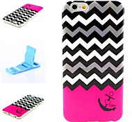 Red and White Anchor Pattern Silicone Soft Cover and Mini Diaplay Stand for iPhone 6