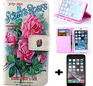 Wallet Style Pink Roses PU Leather Full Body Cover with Screen Protector for iPhone 6