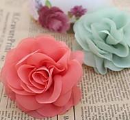 DIY Handmade Chiffon Satin Fabric Rose Cloth Flowers (3Pcs Random Delivery)