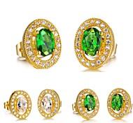 AAA Zircon Electroplating Ms 18K Gold Earrings