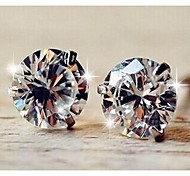 Bright And Delicate 3 Claw Set Zircon 4MM Stud Earrings