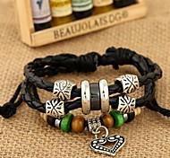 Z&X®  Punk Fashion Handmade Beads Combination Alloy Heart Pendant Leather Rope Strand Bracelets